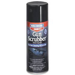 Black aerosol can of Gun Scrubber with white lettering on a white background