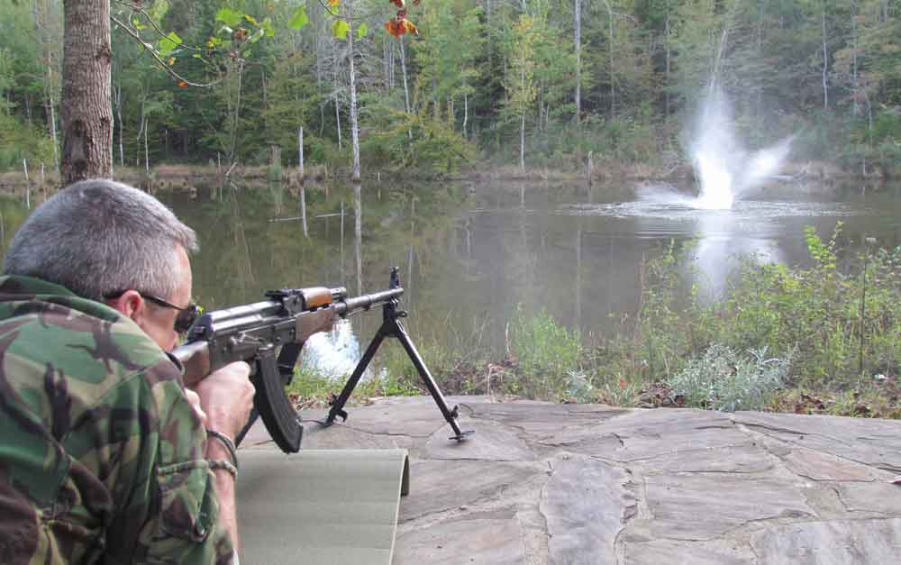 RPK being fired into pond