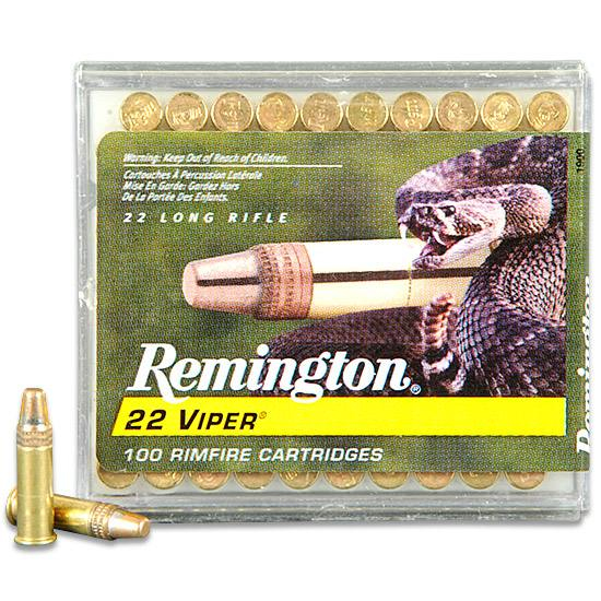 Box of Remington .22 Viper ammunition with a green background and white and gold type