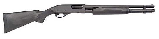 Black Remington 870 Express Synthetic. barrel to the right, white background
