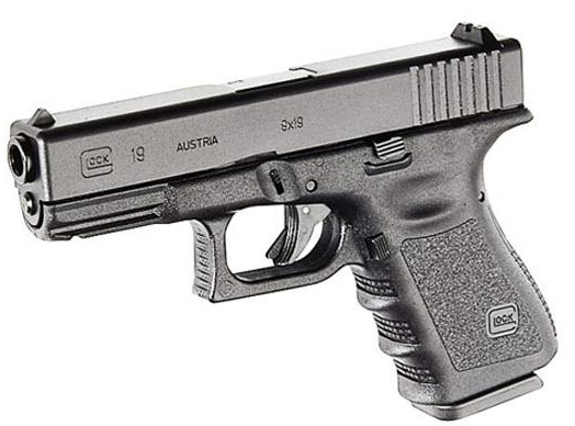 Dark charcoal colored GLOCK 19. barrel pointed left, on a white background