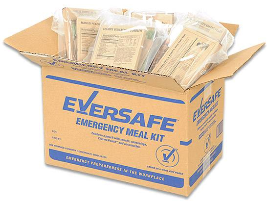 Eversafe Emergency Meal Kit in tan box with blue lettering and contents revealed since top of box is open.