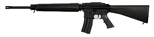 Black AR-15, barrel pointed to the left on a white background