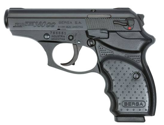 Black Bersa Thunder .380 Concealed Carry Pistol, barrel pointed to the left on a white background