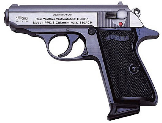 Blackhandled, dark gray barreled Walther PPK/S .380 Pocket Pistol, pointed left on a white background.