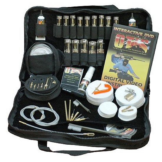 Black cleaning kit with all the tools to keep your firearm in good shape.
