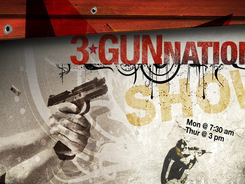 White 3 Gun Nation with red, gold and black lettering