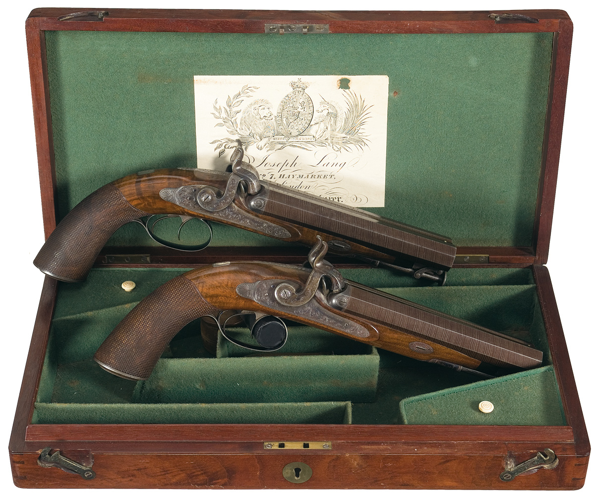 Cased Joseph Lang Double-Barrel Percussion Pistols ca 1840. Image Courtesy of Rock Island Auction Co.