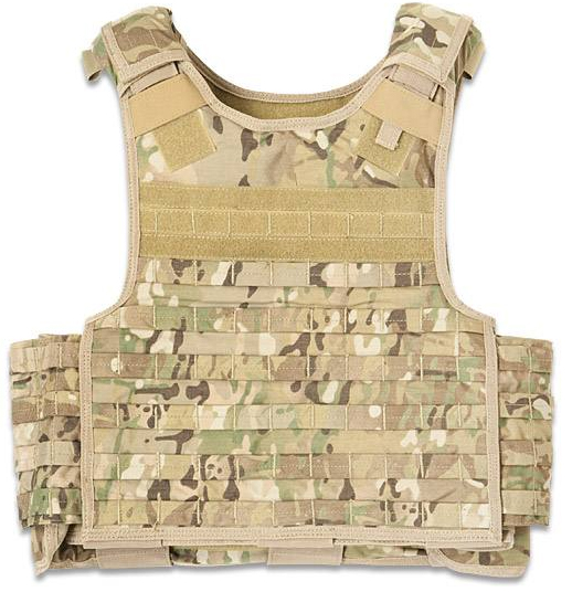 Camo vest with light tans and greens, on a white background