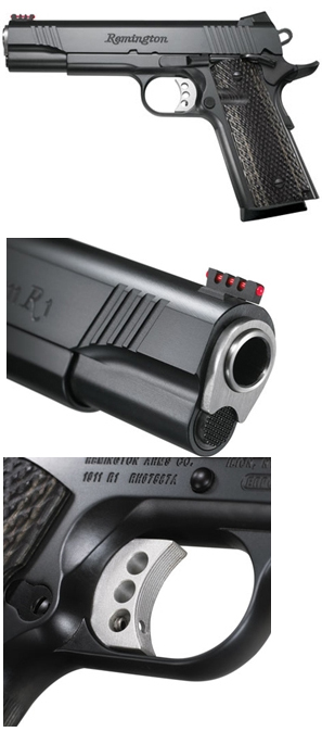 3 tier image of Remington 1911 R1 with the full handgun at the top and focus on specific features for the next 2 images on a white background