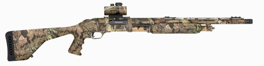 Camo-colored Mossberg Turkey Thug Line, Model 535, on white background, barrel pointed to the right