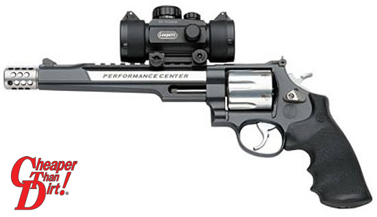 Black handled Smith & Wesson 460XVR with optional sights, barrel pointed to the left on a white background