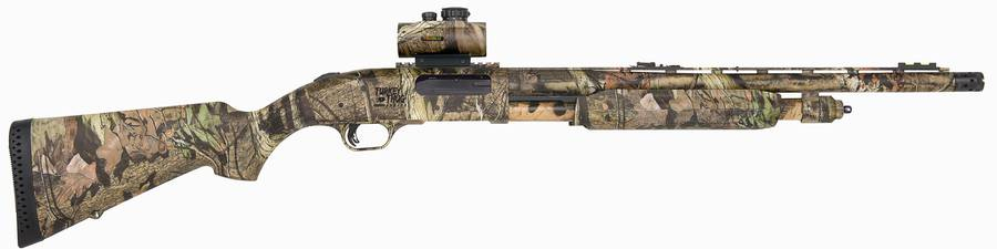 Camo-colored Mossberg Turkey Thug Line, Model 835, on white background, barrel pointed to the right