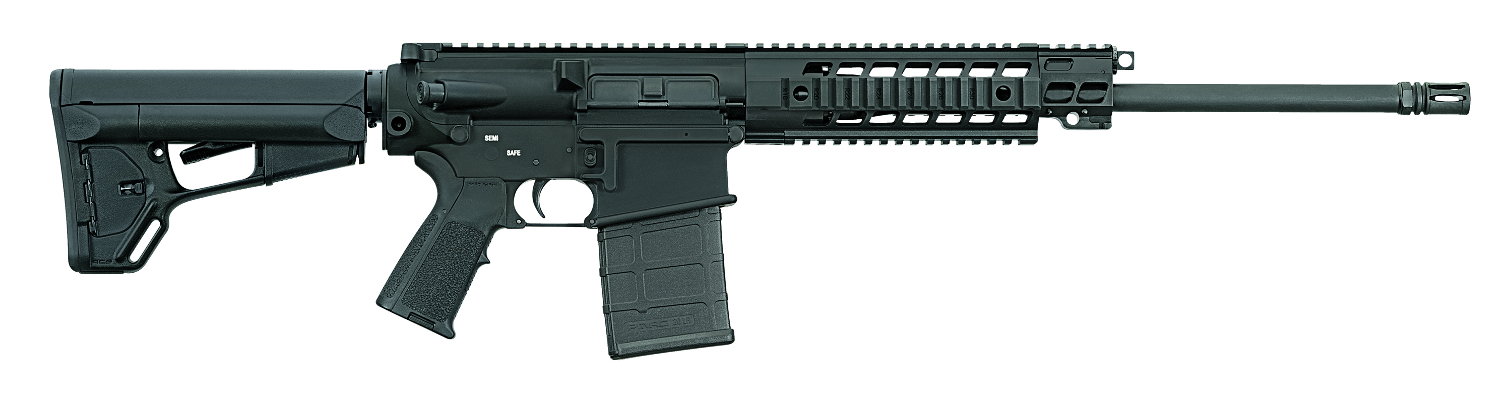 A black SIG 716, Patrol Model Carbine, with the barrel pointed to the right on a white background.