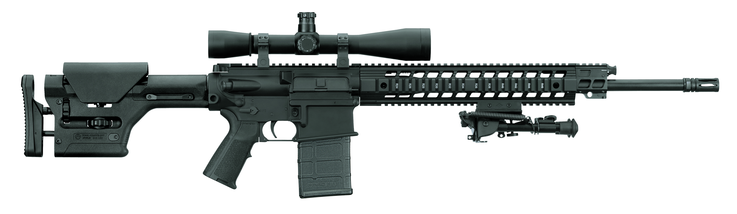 A black SIG 716, Precision Marksman Carbine, with the barrel pointed to the right on a white background.