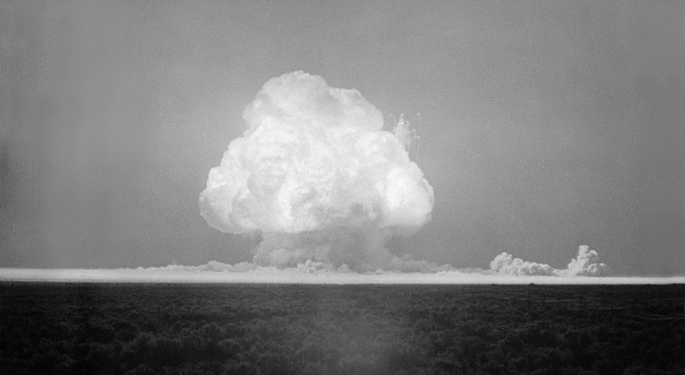 Atom bomb explosion black and white