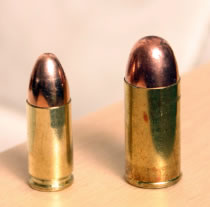 9mm Parabellum (left) - .45 ACP (right)