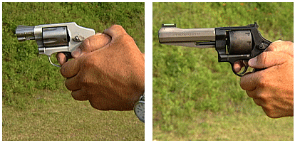 Jerry Miculek demonstrates proper revolver grip. Photos courtesy of Shooting USA.