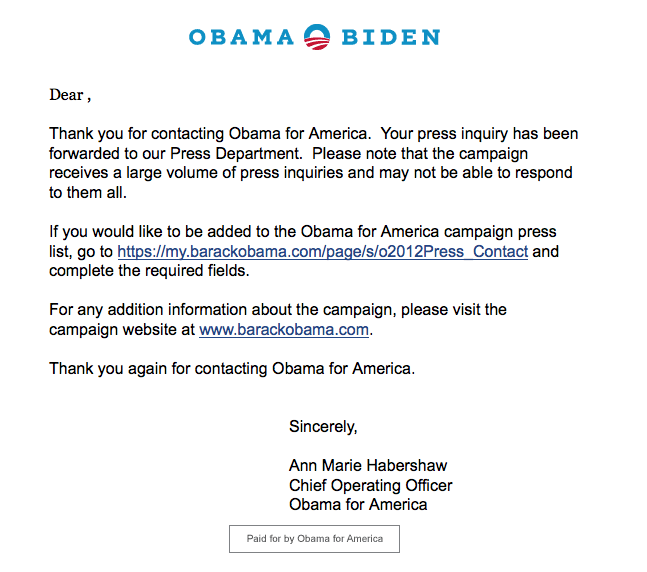 Response from the Obama Campaign
