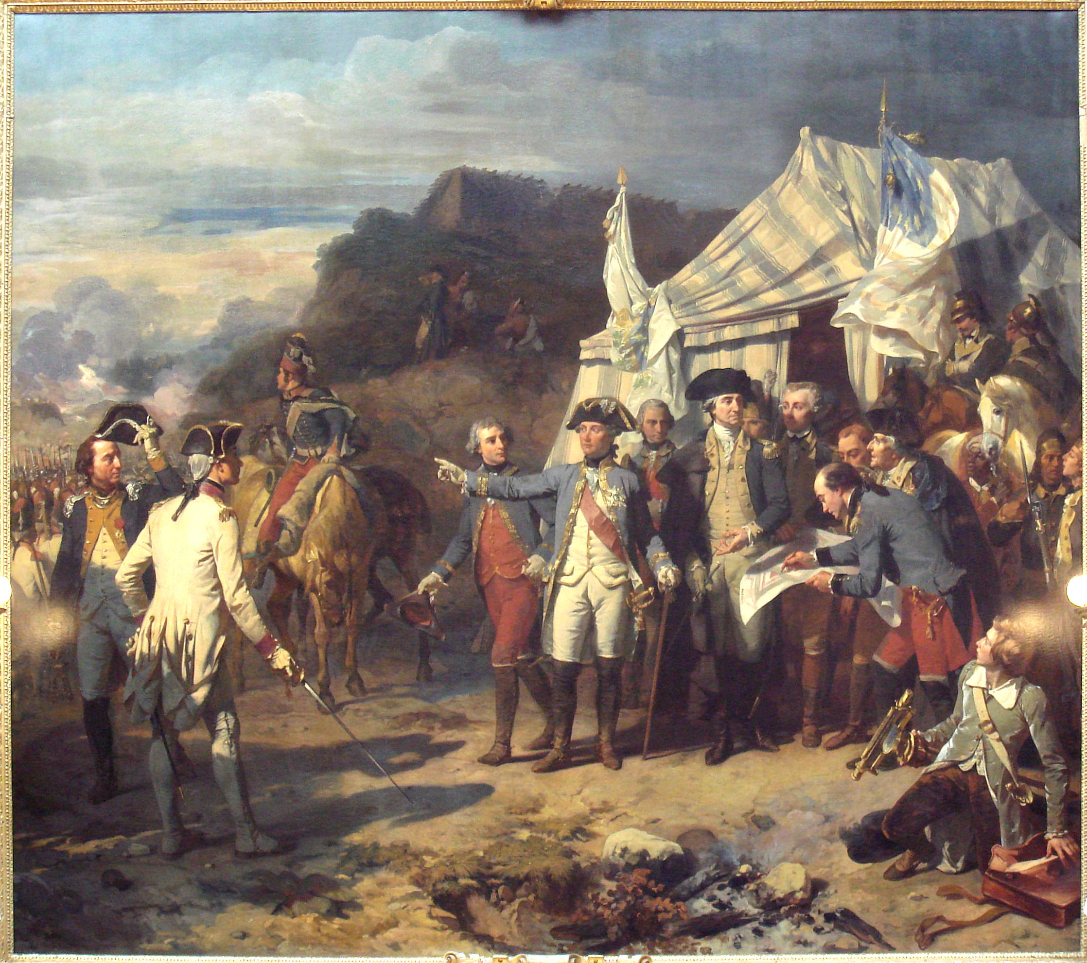 General Charles O'Hara, carries Cornwallis' sword to the American and French commanders.