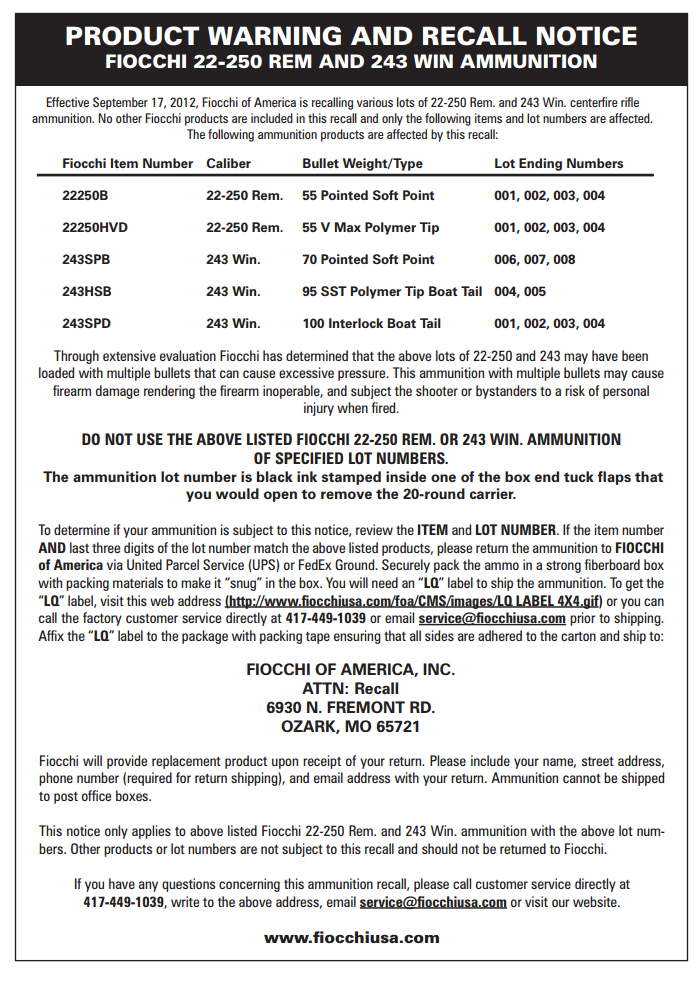 Fiocchi Recall Notice 22-250REM and 243WIN Ammunition