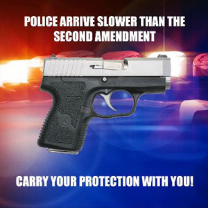"Pistol with police car lights in the background and ""Police arrive slower than the Second Amendment. Carry Your Protection With You"""