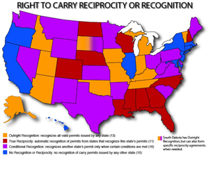 Colored map showing which states accept out-of-state concealed carry permits