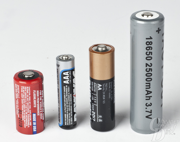 A comparrison of batteries including CR2, AAA, AA and Tact-Out's rechargeable