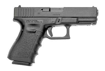 Picture shows the right side of a GLOCK 19 pistol.