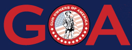 Gun owners of America red and blue logo with patriot