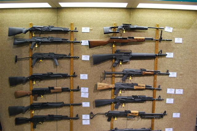 15 rifle display at SHOT Show in Las Vegas