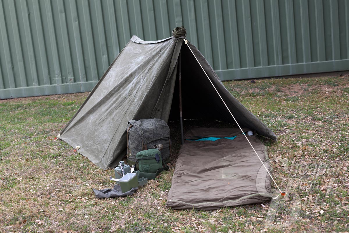 Repurposed military surplus gear makes a perfect and cheap camp set up.