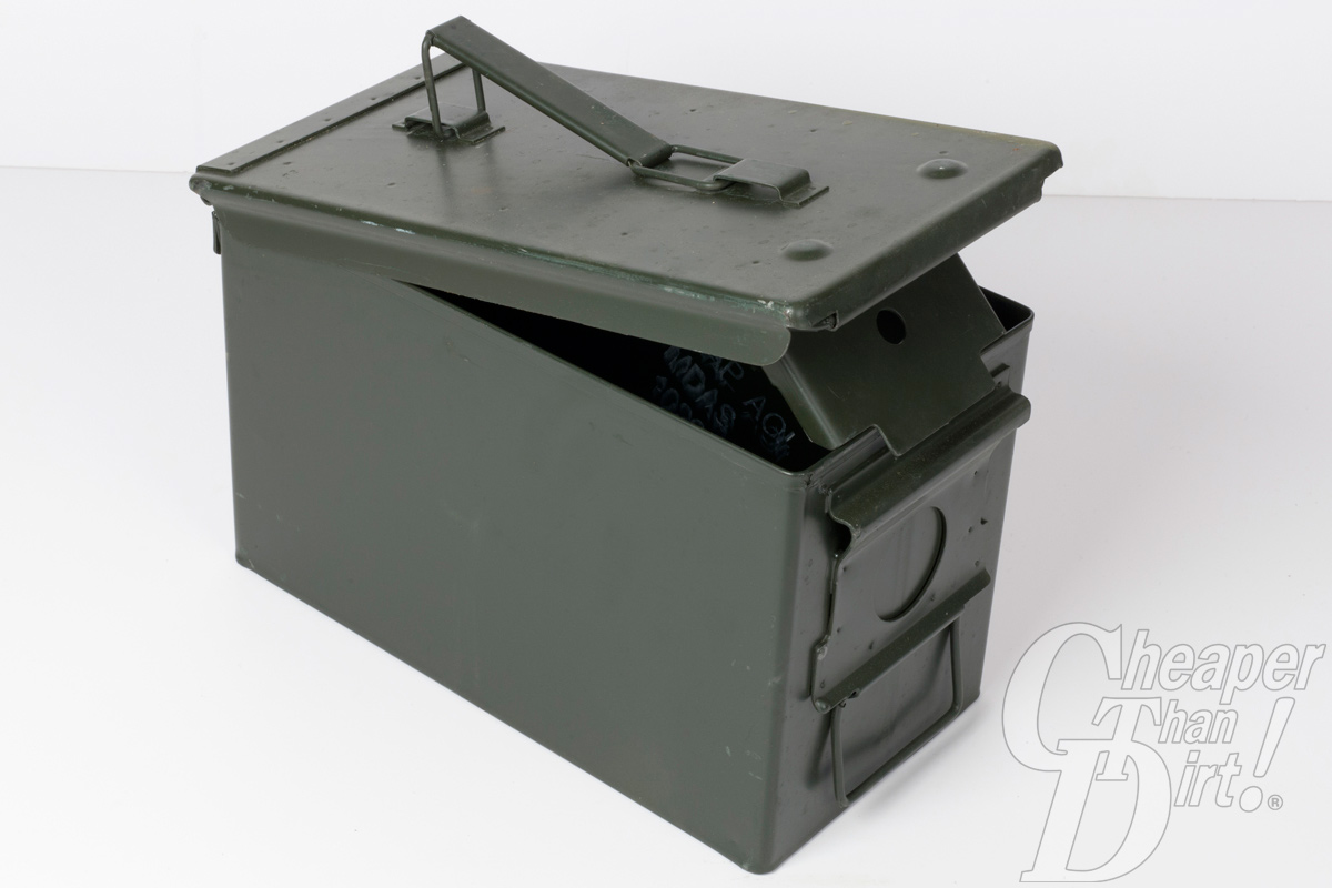 This is a picture of a metal, military surplus ammo can.