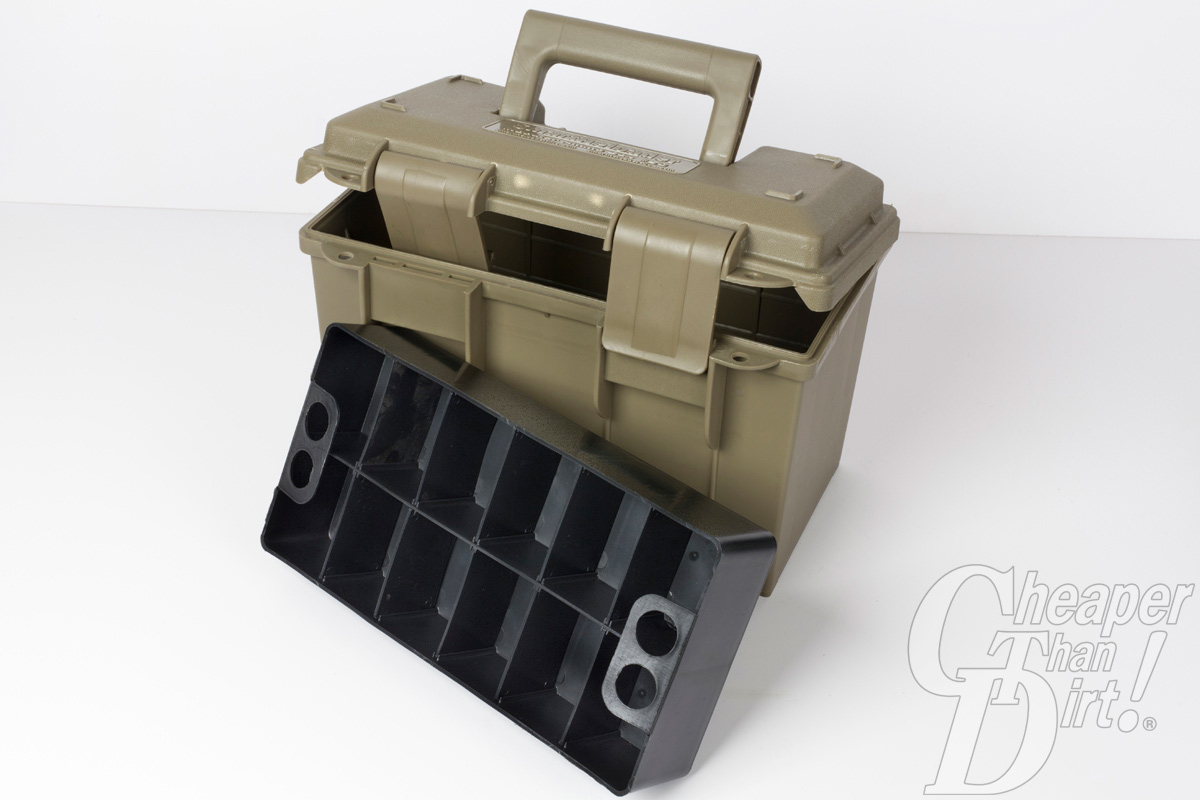 A picture of a plastic ammo can with organizer trays.