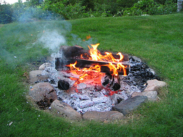 Picture shows a campfire.