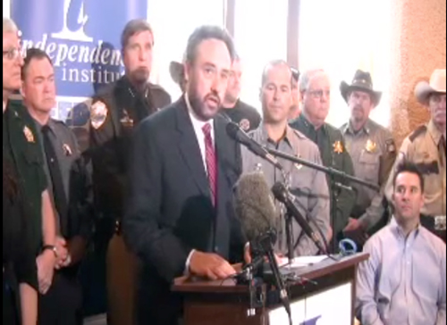 The Independence Institute held a press conference on May 17, 2013 announcing the lawsuit against the new anti-gun bills passed by the Colorado legislature and signed by Governor John Hickenlooper. Speaking is lead attorney Dave Kopel.