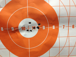 At 50 yards, it can be hard to separate the First Strike dot from an orange background.