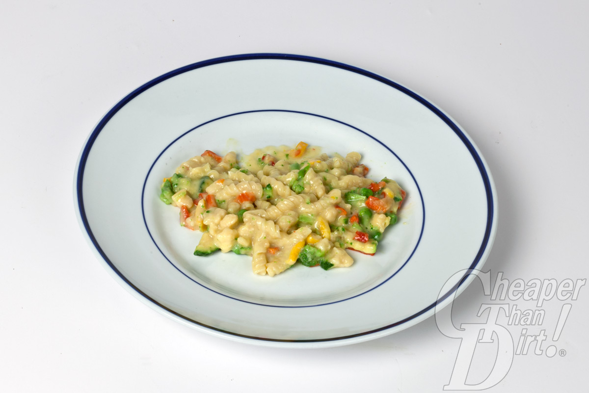 Pictures shows a plate of pasta primavera.