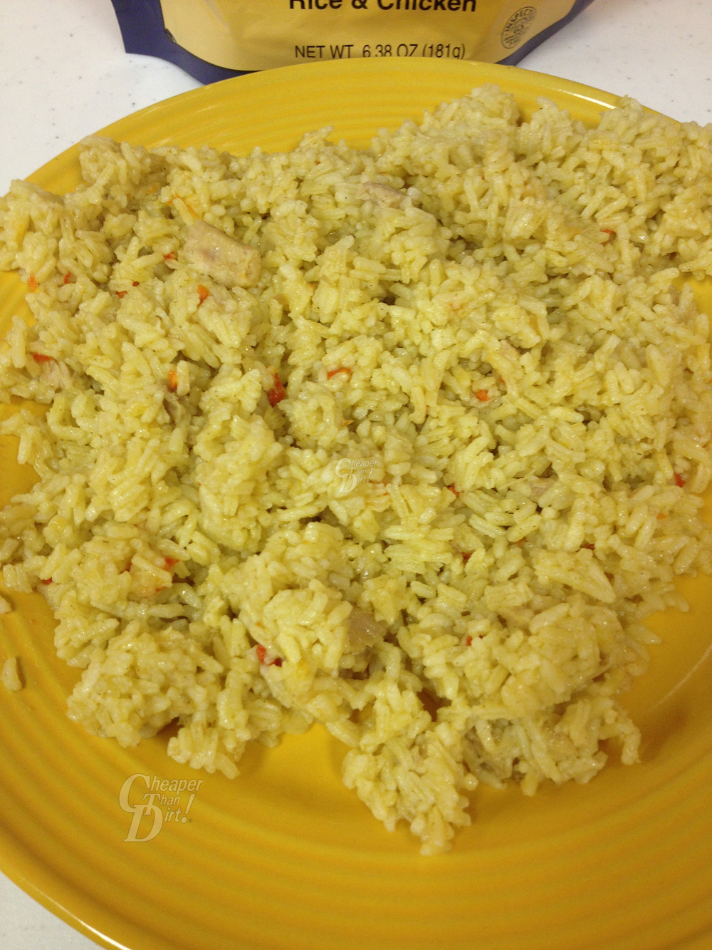 Pictures shows Mountain House's rice with chicken dish.