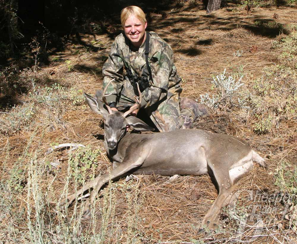 bowhunter with Blacktail deer