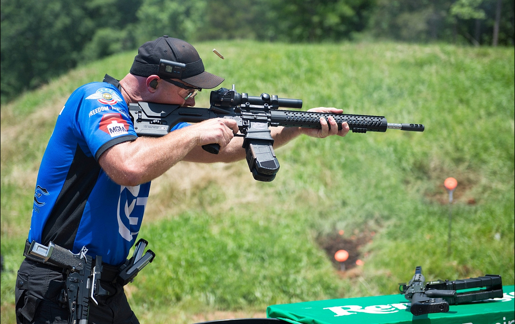Clint Upchurch with Colt CRP-18 at 3-Gun Competition