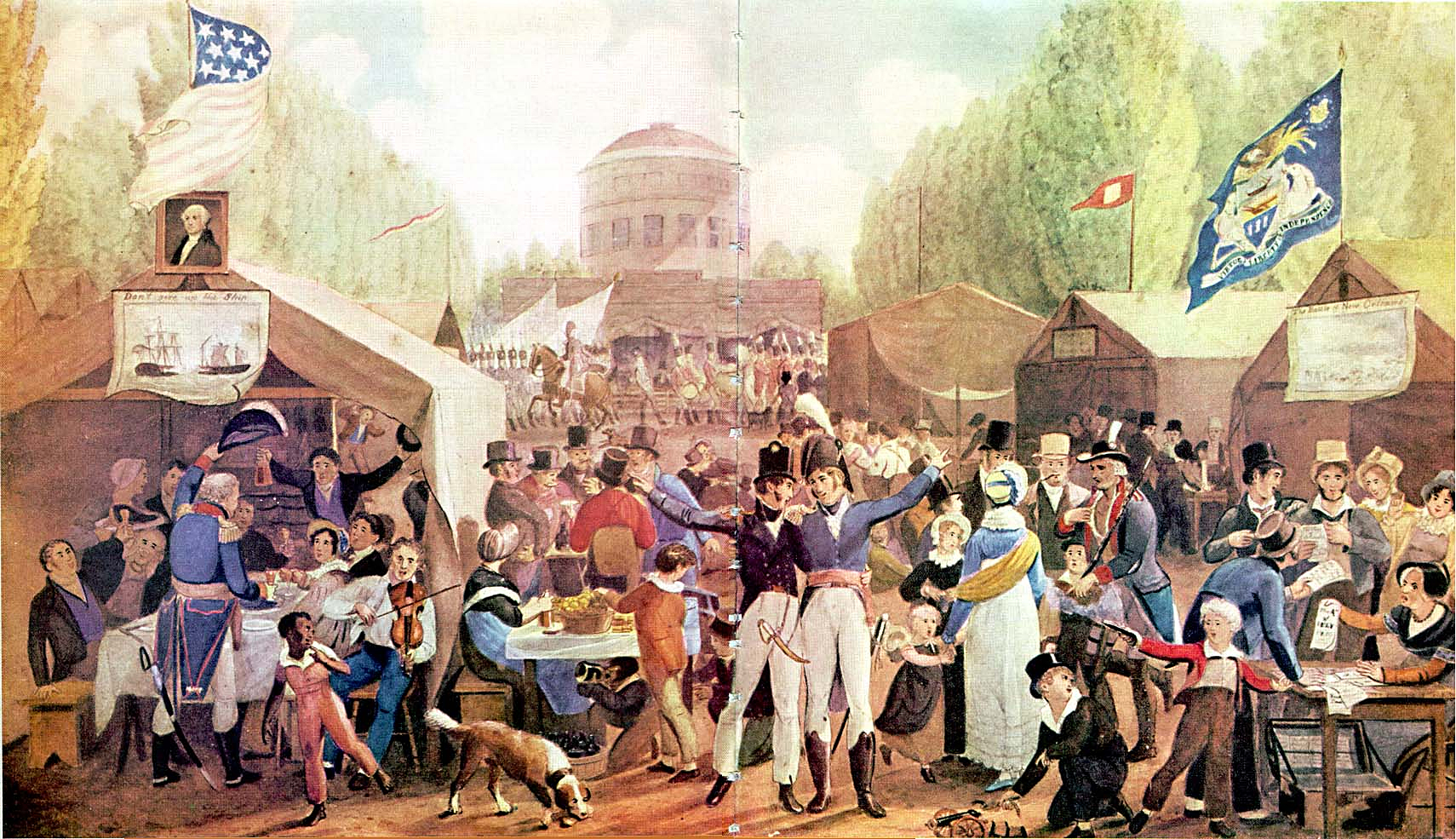 This picture is a painting by John Lewis Krimmel showing a July 4 celebration in 1819