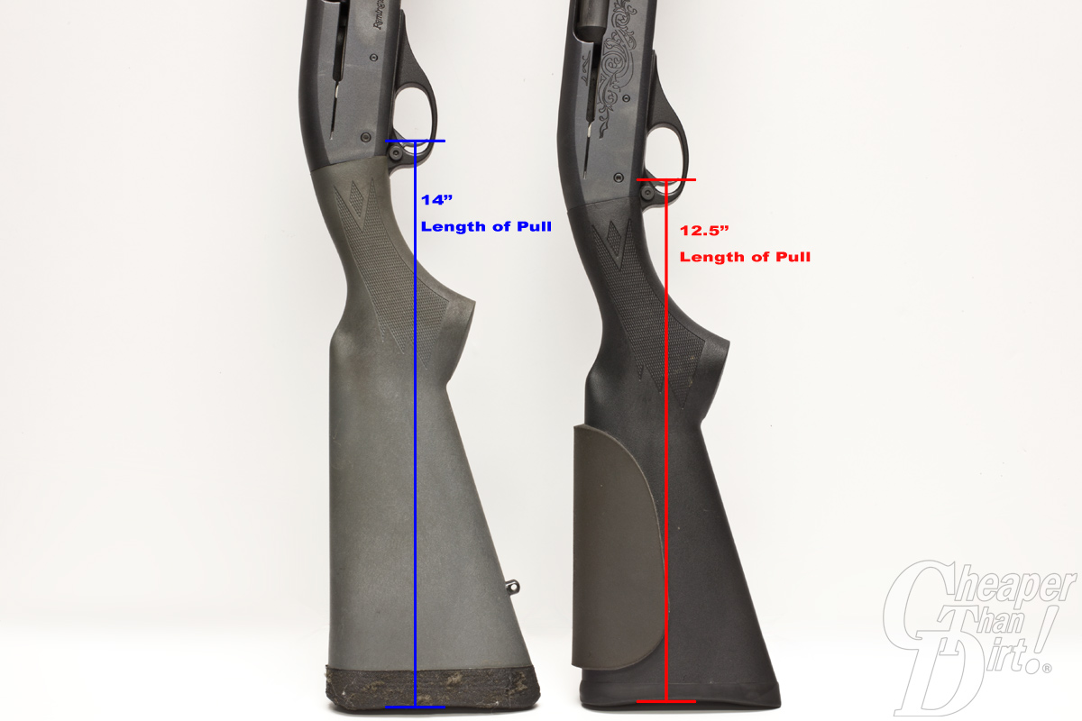The length of pull or LOP is the distance from the middle of the trigger to the end of the gun's buttstock.