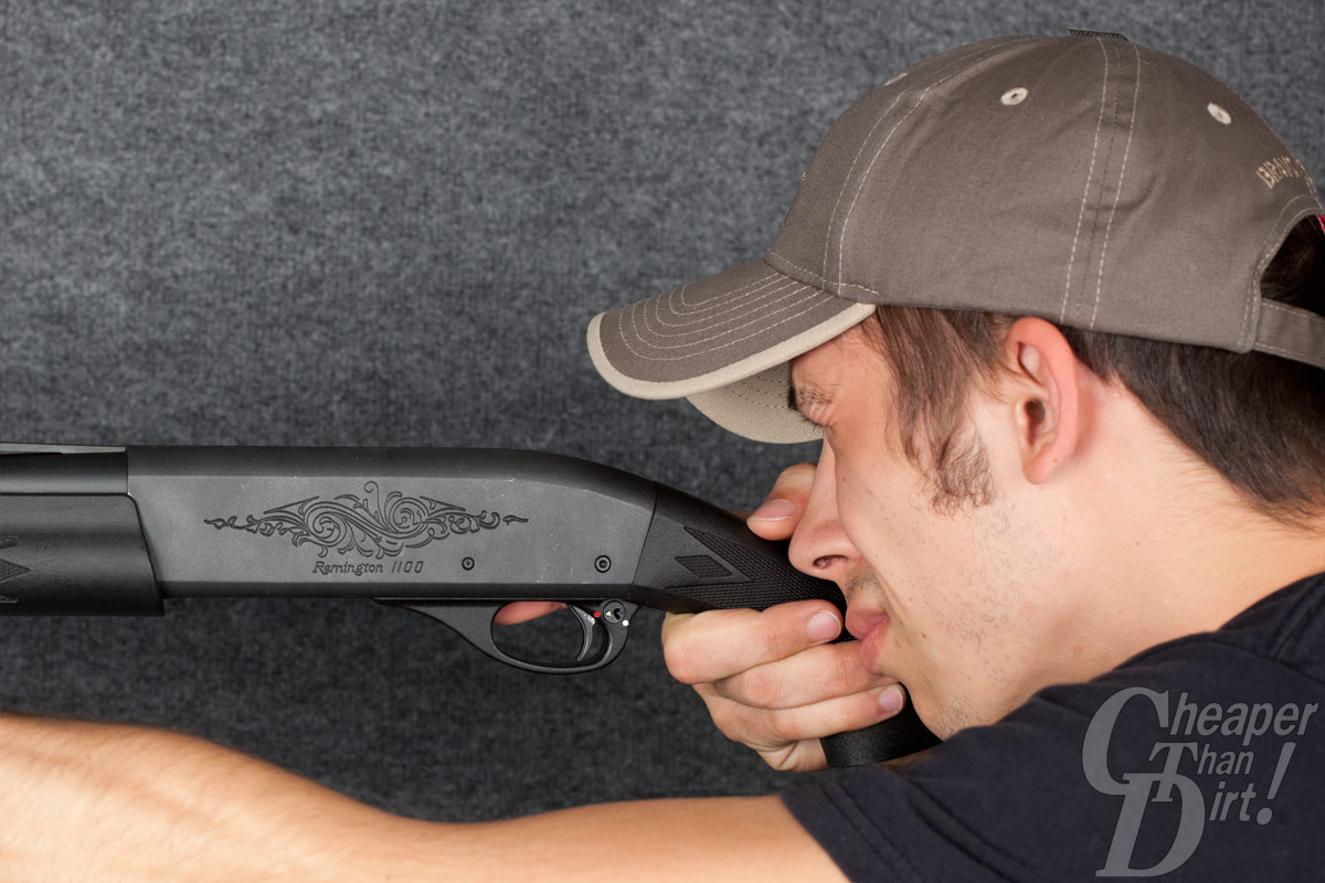 This shotgun's length of pull is too short and may obstruct the shooter's line of sight.