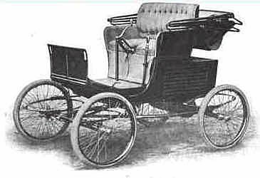 Picture shows a drawing of a 1902 model Stevens-Duryea Runabout motorcar.