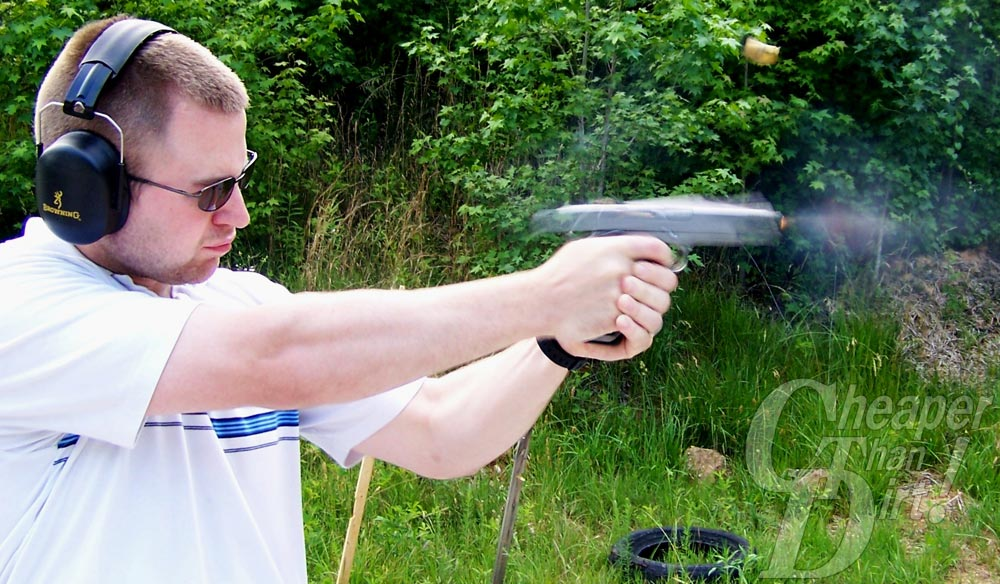 Captain Matthew Campbell shooting the 191 .45 pistol