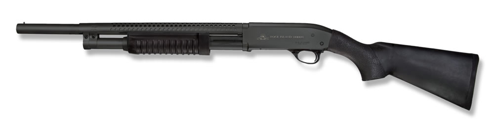 Picture shows a black, pump-action shotgun.