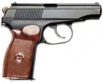 A newer Makarov with brown handle, muzzle pointed to the right on a white background