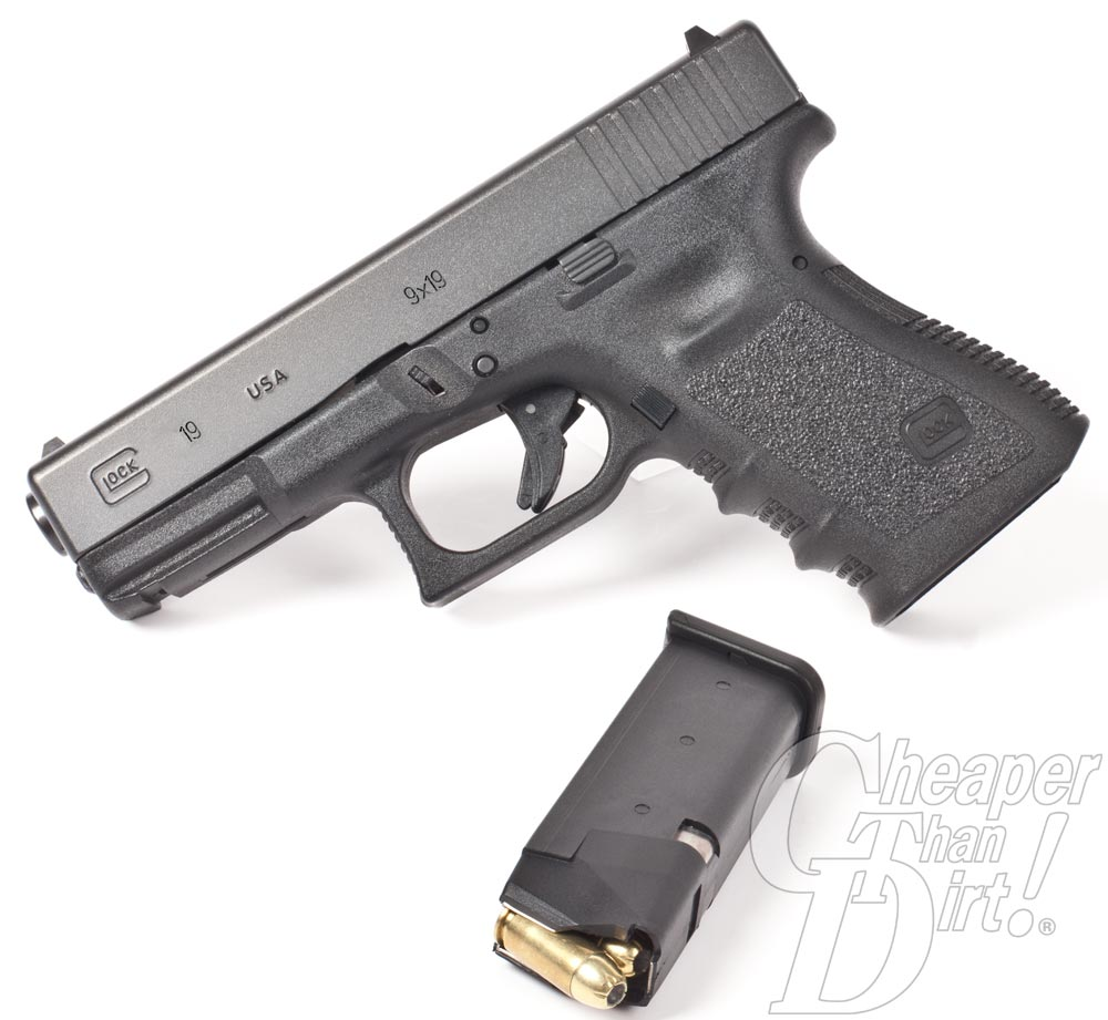 Picture shows a Glock19 handgun made in the U.S.A.