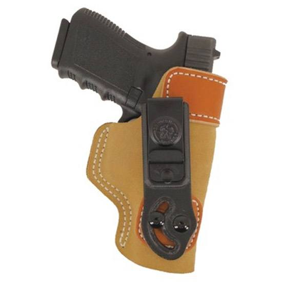 The DeSantis tuck holster in light beige leather with rusty orange accents on a white background.